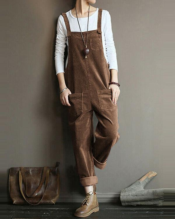 Vintage Corduroy Jumpsuits Casual Straps Overalls Loose Harem Pants Rompers