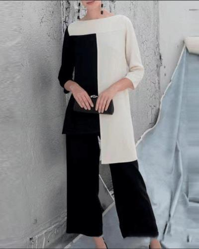 Fashion Black And White Casual Suit