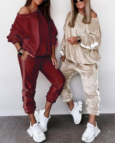 Autumn Winter Oversize Velvet Pants Set Casual Long-sleeved Two Piece Suit