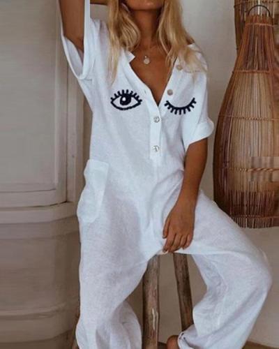 Women Linen Eyelash Print Casual Wide Leg Jumpsuit