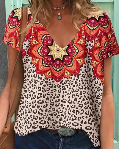 Leopard Floral Tribal Short Sleeve V Neck Casual Daily T-shirts