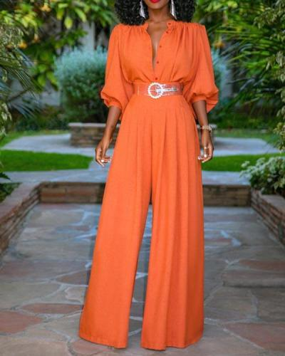 Vintage Plain Stand Collar One-Pieces