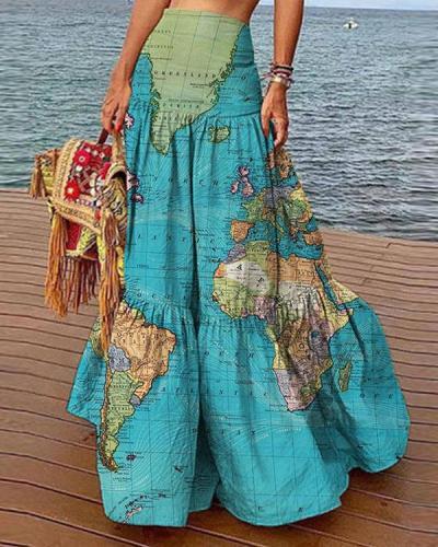 Casual High Waist Layer Ruffle Map Skirt