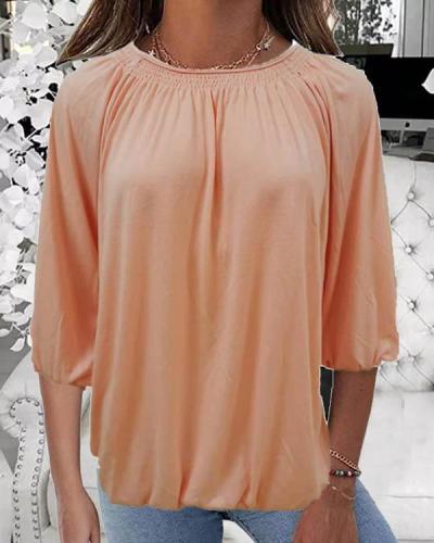 Comfy Cotton Blend Round Neck Solid Color Blouse