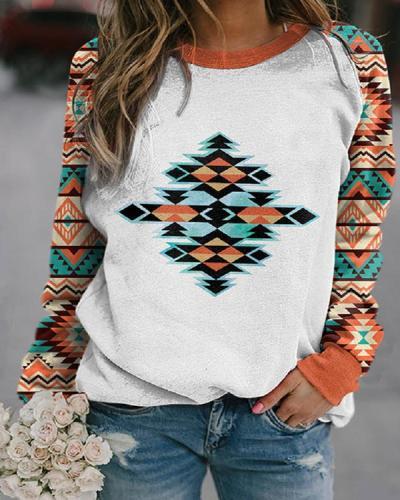 Casual Western Ethnic Aztec Print Orange Sweatshirt