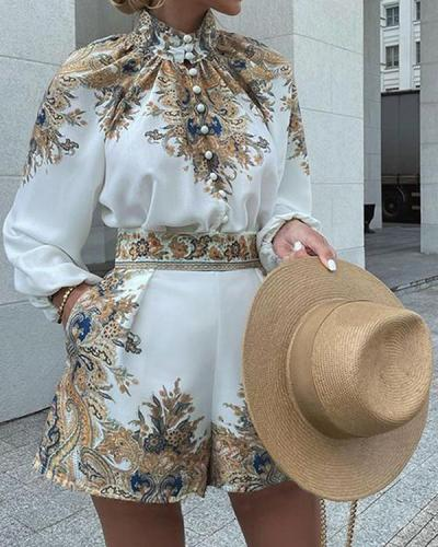 Printed Long Sleeve Lapel Suit