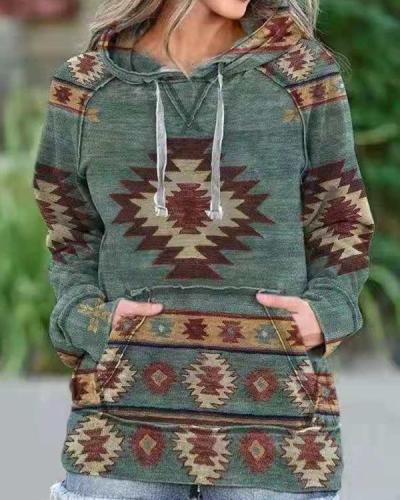 Women's Aztec Print Casual Hoodie