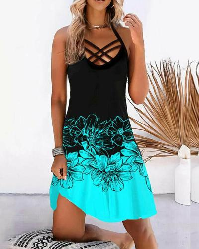 Print Floral Color Block Sleeveless Vacation Dresses