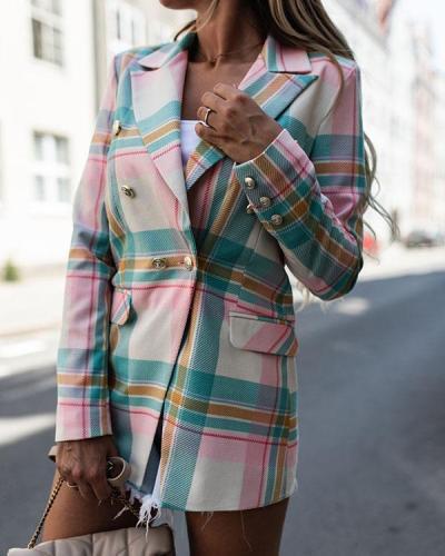 Fashion Lapel Colorful Plaid Suit Jacket Double Breasted Coat