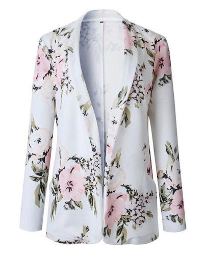 Women Shawl Collar Floral Jacket Print Coat