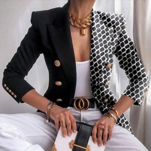 Plus Size Single Side Print Office Suit Classy Blazer