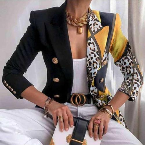Plus Size Single Side Leopard Print Office Suit Classy Blazer