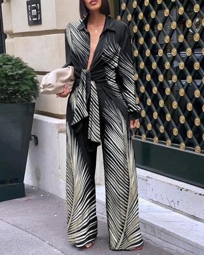 Women Lace-up Long-sleeved Top And Wide-leg Pants Suit
