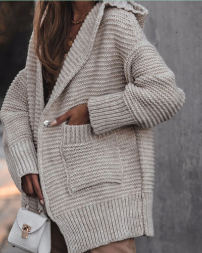 Solid Casual Loose Long Sweater Coats Pockets Sweaters
