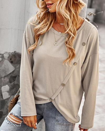 Long Sleeve Round Neck Women Loose Top
