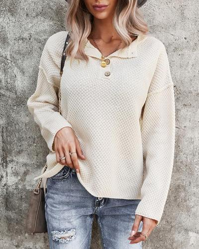 Solid Color Lapel Long-sleeved Top