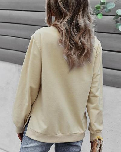Fashion Trend Round Neck Long Sleeve Top