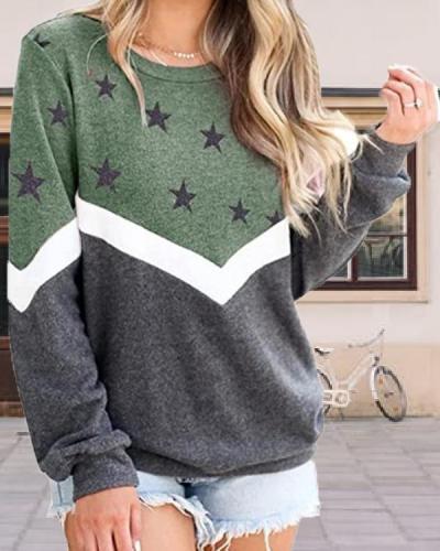Round Neck Long Sleeve Star Print Top