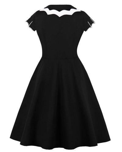 Cosplay Halloween Gothic Print Dress Fit & Flare Bat Dress