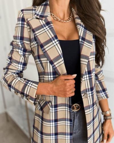 Long Sleeve Fashion Lattice Blazer Lapel Suit