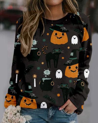 Halloween Pumpkin Print Sweatshirt