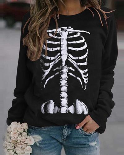 Halloween Skeleton Rib Print Sweatshirt