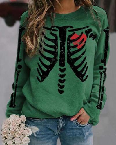 Halloween Skeleton Print Sweatshirt