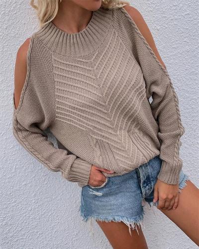 Women Crew Neck Open Shoulder Long-sleeve Knit Sweater