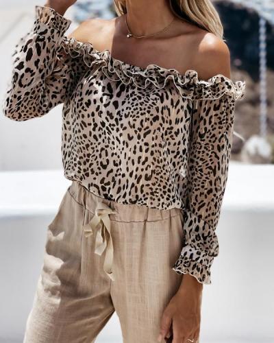 Off Shoulder Leopard Long Sleeve Tops