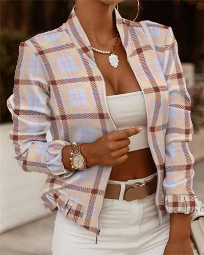 Lattice Jackets Zip Embellished Long Sleeve Jacket