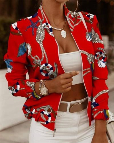 Women's Jackets Zip Embellished Printed Long Sleeve Jacket