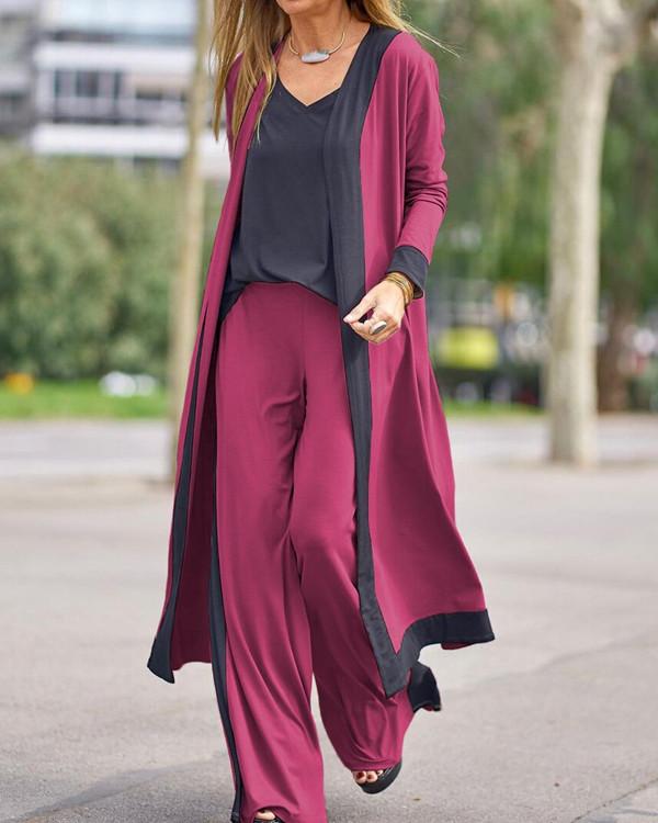 Women Autumn Casual 3-Piece Set Color Contrast Kimono Camis&Pants Suit