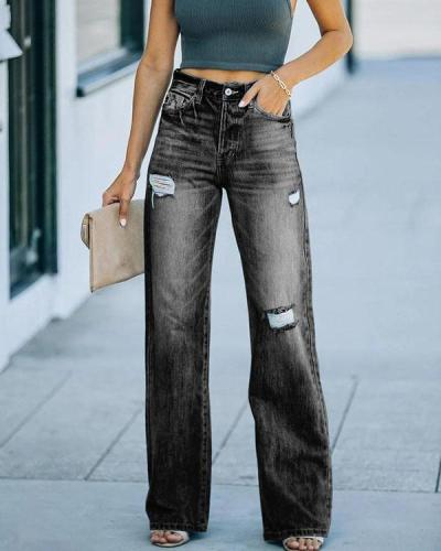 Women Mid Rise Washed Denim Ripped Hollow out Jeans