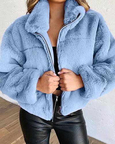 Plus Size Faux Fur Zipper Cardigan Solid Plush Warm Jacket