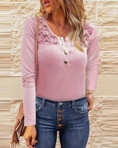 Solid Color Long-Sleeved Lace V-neck Blouse