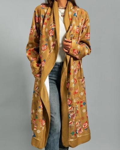 Floral Print Long Sleeves Casual Outerwear