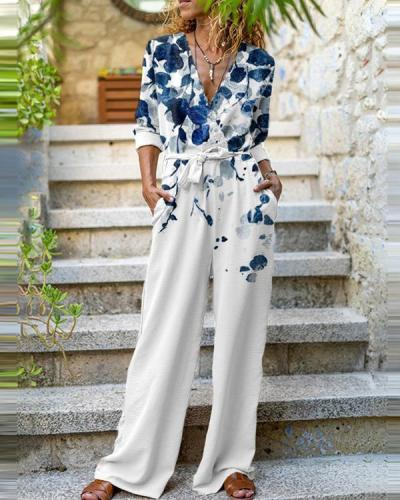 Fashion Long-Sleeve Butterfly Print Jumpsuit
