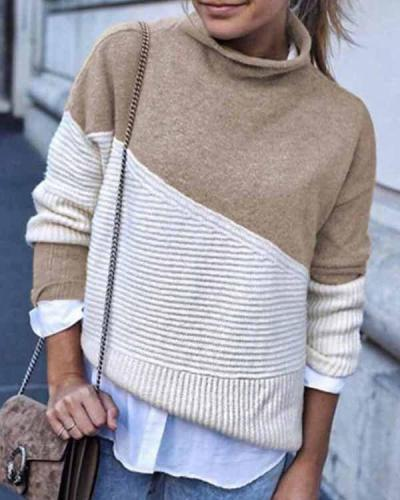 Florcoo Loose Round Contrast Sweater