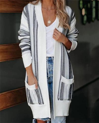 Long Striped Pocket Casual Cardigan with Long Sleeves