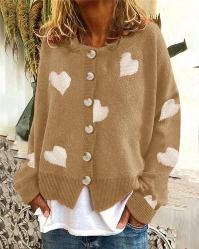 Knit Single-breasted Heart Sweater Cardigan