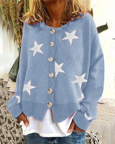 Knitwear Five-pointed Star Single-breasted Top Sweater Cardigan