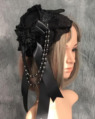 Gothic Retro Dark Top Hat Lolita Headdress Halloween Hair Accessories