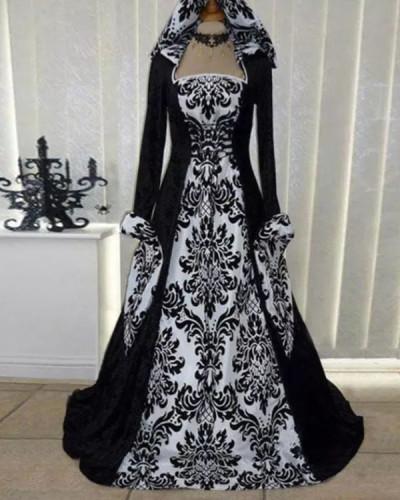 Halloween Long Sleeve Lace-up Print Dress