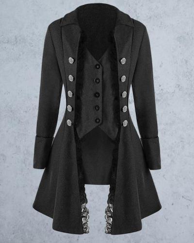 Medieval Solid Color Long-sleeved Three-breasted Ladies Jacket