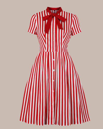 Retro Dress With Black Striped Buttons