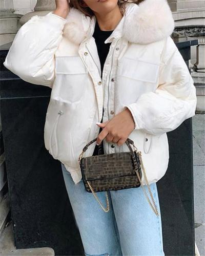 Drawstring Furry Short Casual Warm Cotton Jacket