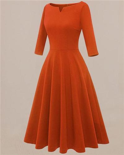 Caramel Slim Round Neck Simple Dress