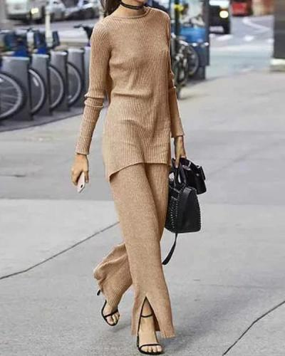 Solid Color Round Neck Long Sleeve Suit