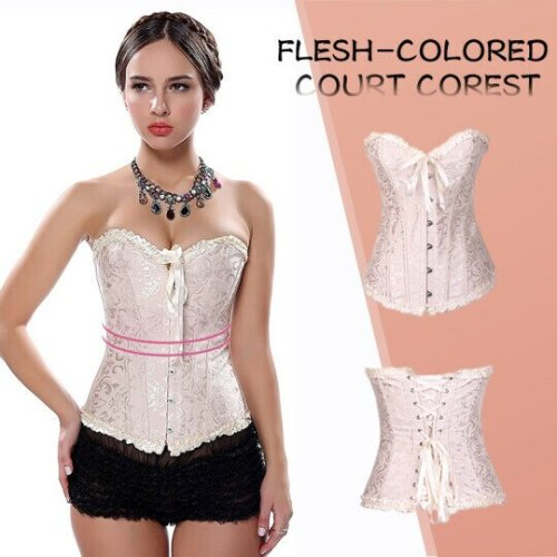 Corsets For Womens Lacing Corset Top Satin Floral Boned Overbust Body Shaper Bustier