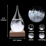 Storm Glass with With Wood Base